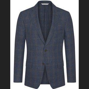 SAMUELSOHN Denim Linecheck Plaid Jacket Size 44L